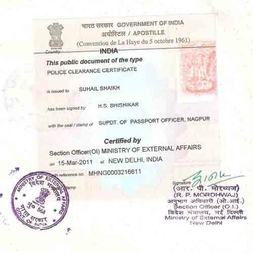 Police Clearance Certificate Pcc Attestation India