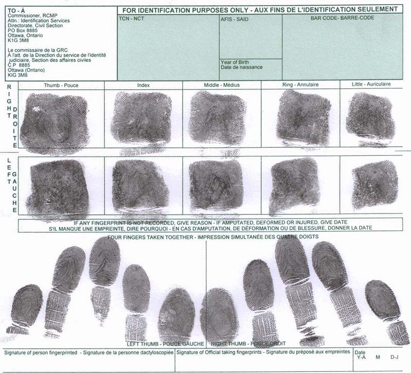 Fingerprint for Police Clearance Certificate (PCC) from RCMP